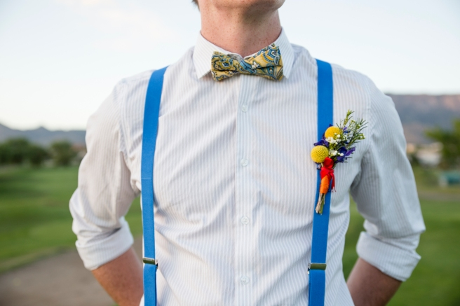 wedding planning design decor inspo real local New Mexico Perfect Wedding Guide couple bright color blue orange red hot air balloon love suspenders mens fashion bowtie paisley greenery detail outdoor romantic