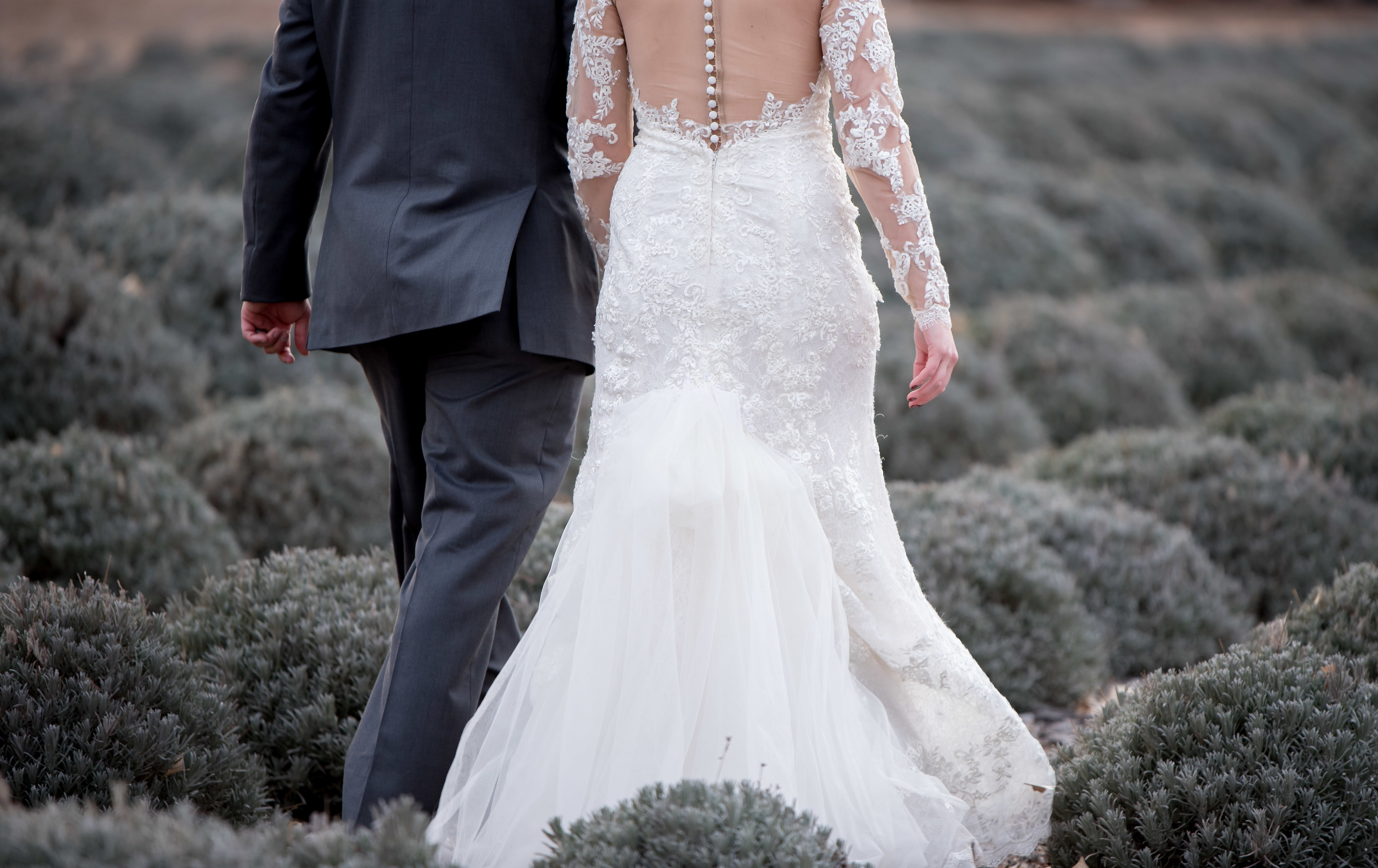 wedding planning design decor inspo real local New Mexico Perfect Wedding Guide lavender outdoor couple romantic professional back gown lace sheer longsleeve suit tux natural light love bride groom
