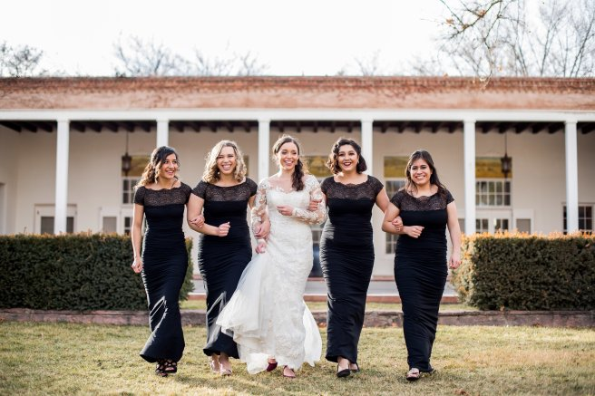 wedding planning design decor inspo real local New Mexico Perfect Wedding Guide lace bridesmaids maid of honor wedding party long sleeve traditional black outdoor natural light