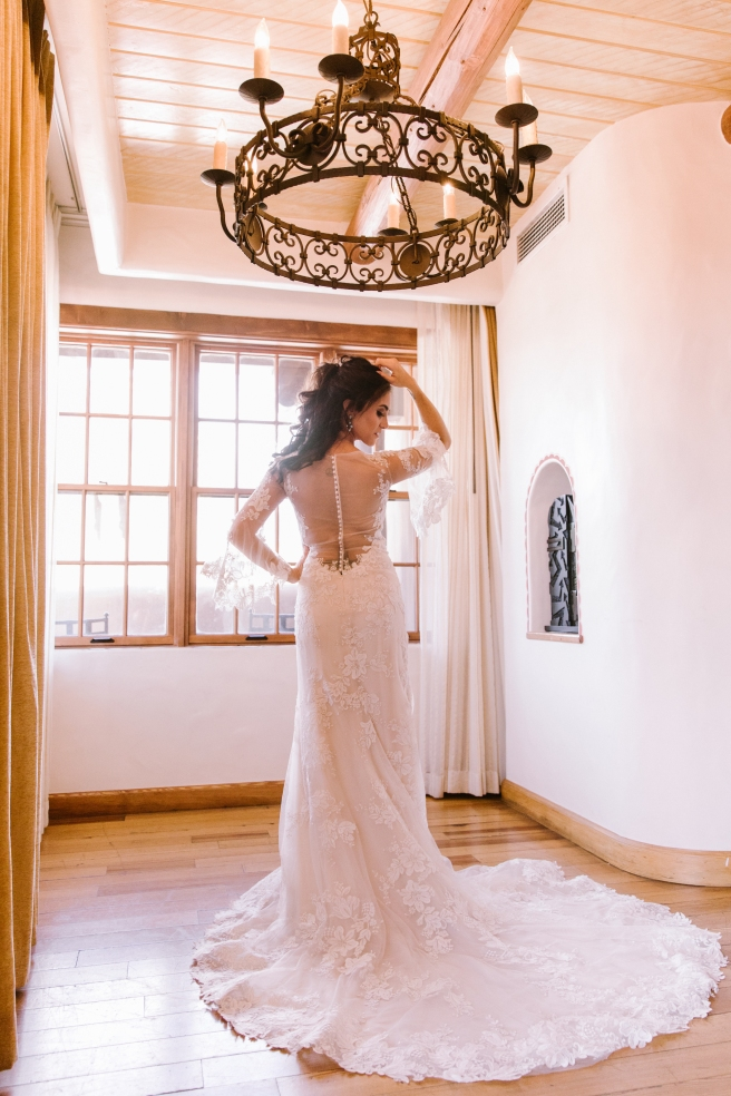 New Mexico wedding Santa Fe planning La Fonda gown suit inspiration design lace photography romantic styled local perfect wedding guide sheer high neck sleeves