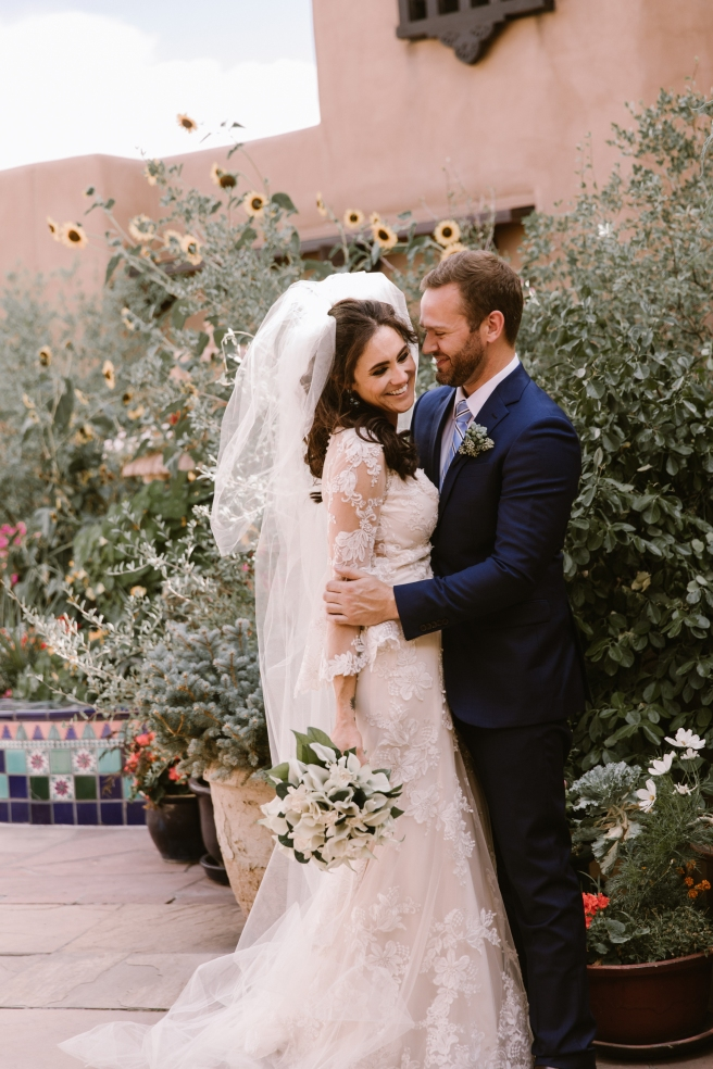 New Mexico wedding Santa Fe planning La Fonda gown suit inspiration design floral bouquet lace photography romantic styled local perfect wedding guide sunflowers first look couple engagement ceremony