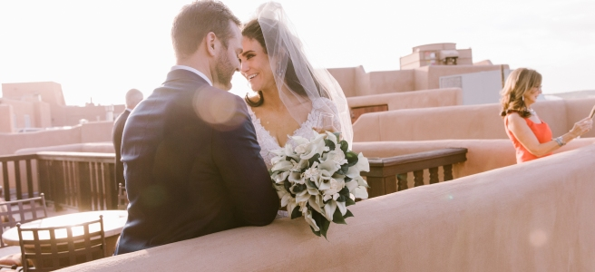New Mexico wedding Santa Fe planning La Fonda gown suit inspiration design floral bouquet lace photography romantic styled local perfect wedding guide couple natural light celebration event ceremony lilies greenery