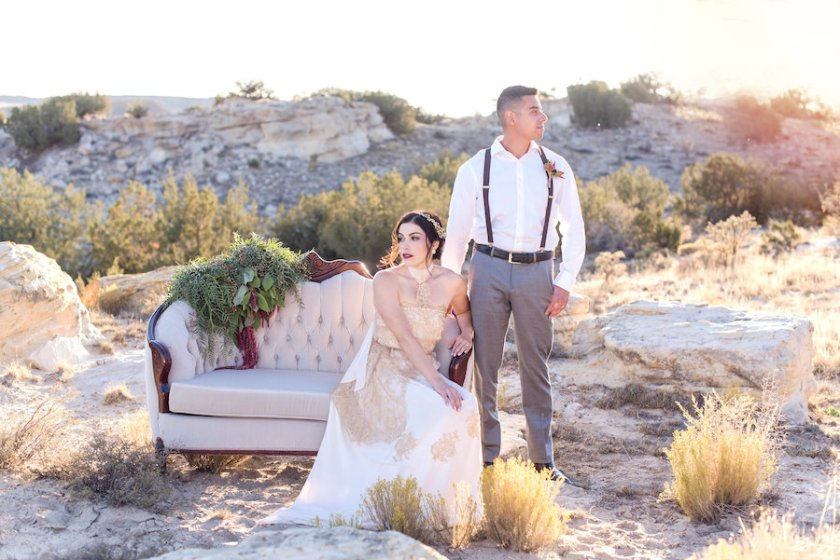 wedding planning photography styled shoot natural light outdoor elopement engagement New Mexico Albuquerque mountains Perfect Wedding Guide desert