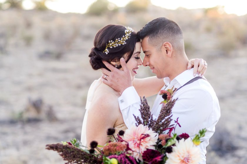 wedding planning photography styled shoot natural light outdoor elopement engagement New Mexico Albuquerque mountains Perfect Wedding Guide headpiece romantic bouquet floral dahlia love marriage inspiration