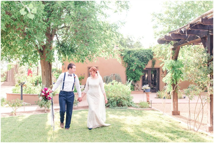 couple wedding outdoor venue Perfect Wedding Guide New Mexico Casa Perea long sleeve gown tuxedo bowtie floral arrangement natural light photography Maura Jane