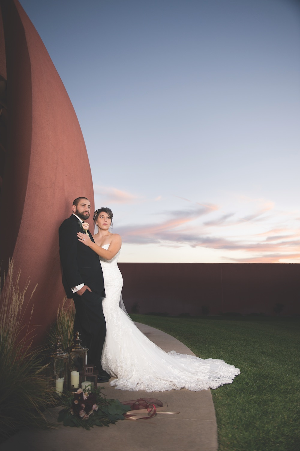 Isleta Resort Venue Wedding Couple Newlyweds Bride Groom Hot Spot