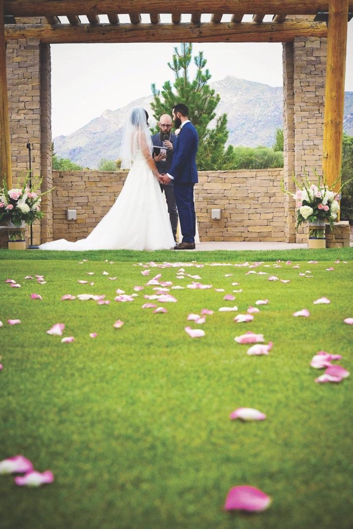 wedding ceremony sandia event center and golf club love newlyweds venue