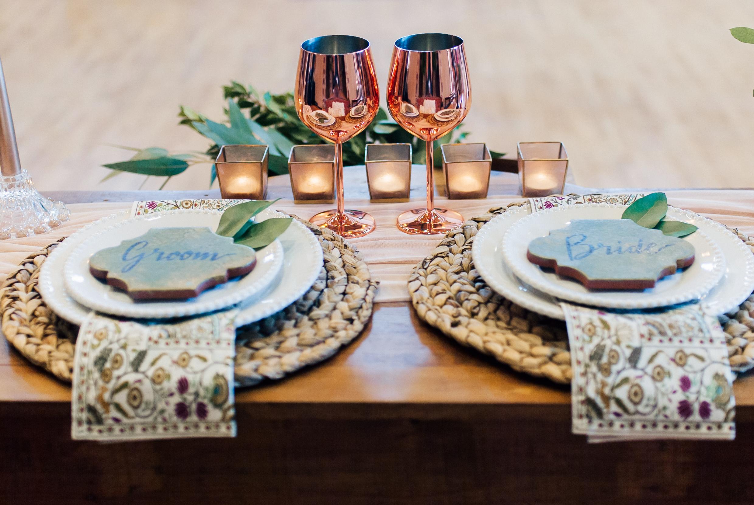 bride, groom, new mexico wedding decor, new mexico cookies, wedding table