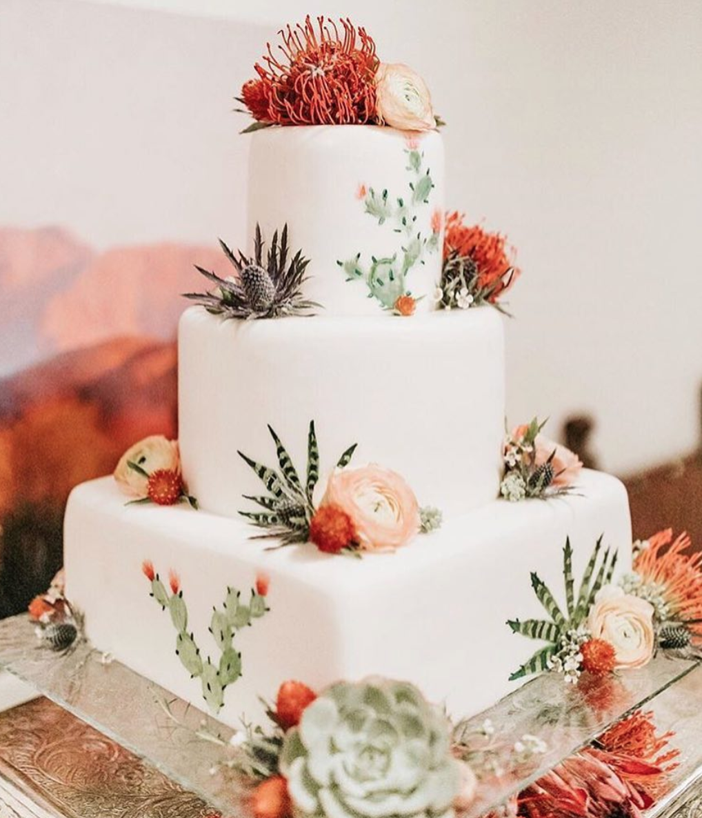 cactus cake, new mexico wedding cake, southwestern cake